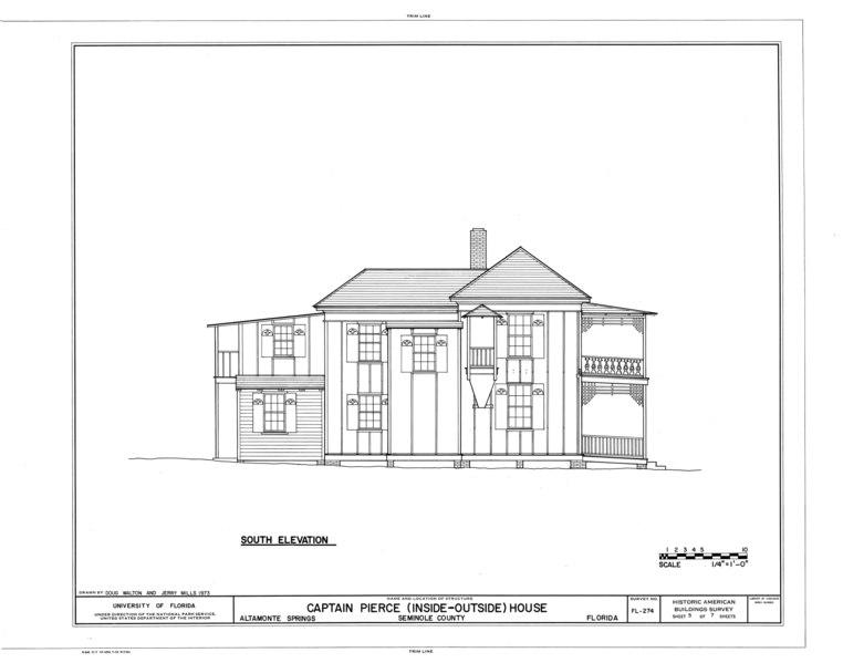 File:Captain Pierce House, Boston Avenue, Altamonte Springs, Seminole County, FL HABS FLA,59-ALTSP,1- (sheet 5 of 7).tif