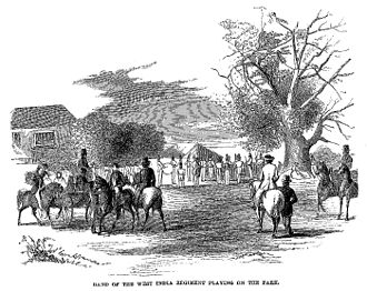 West India Regiments - The regimental band playing in 1861