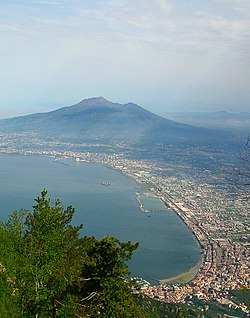 Castellammare di Stabia with the Gulf of Naples and the Vesuvio