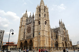 León, Spain - León's gothic Cathedral, also called The House of Light or the Pulchra Leonina