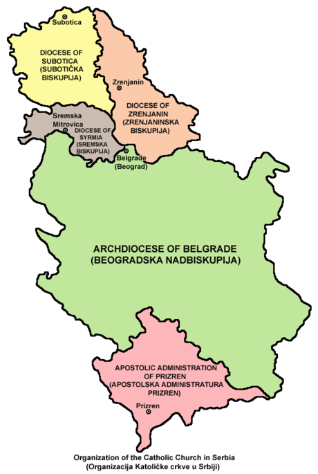 Map of Roman Catholic church organization in Serbia   Belgrade Archbishopric - Green   Subotica Bishopric - Yellow   Zrenjanin Bishopric - Beige   Syrmia Bishopric - Brown   Prizren Bishopric - Violet - Roman Catholicism in Serbia