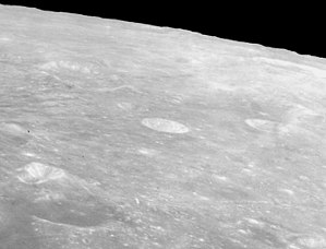 Cayley (crater) - Oblique view from Apollo 15, showing Cayley (center), Ariadaeus (bright, left foreground), D'Arrest (left background), and Whewell (right)