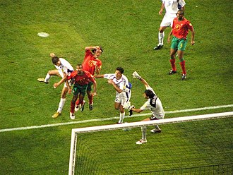 UEFA Euro 2004 - Angelos Charisteas (first from left with white shirt), scoring Greece's winner against Portugal in the final.