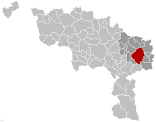 Location of Charleroi in the province of Hainaut