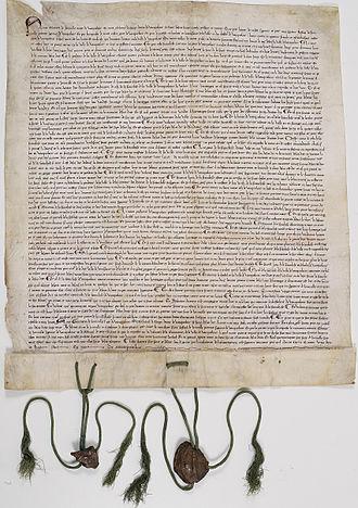"""Geoffrey de Geneville, 1st Baron Geneville - Charter for Vaucouleurs, Grant of 1298 by Walter (son of Joffroy), confirmed by Jean de Joinville (brother of Joffroy), """"in the court of my dear brother Joffroy de Joinville, 'premier seignour de Vauquelour'."""" (Archives Nationales de France)"""