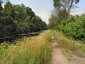 Chenango Canal - A feeder canal to the Chenango Canal and the towpath as it appears today near Colgate University, in Hamilton, New York.