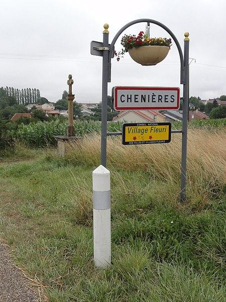 Chenières (Meurthe-et-M.) city limit sign