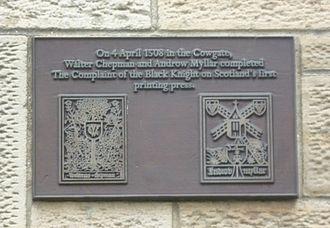 Androw Myllar - Image: Chepman & Myllar plaque, Cowgate, Edinburgh