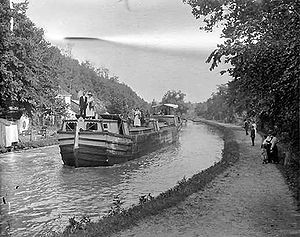Chesapeake and Ohio Canal - A boat on the canal, circa 1900-1924