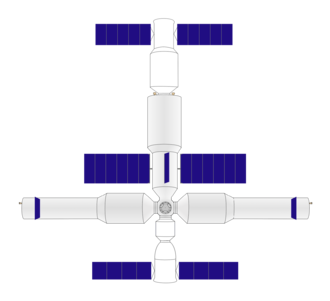Chinese large modular space station - Artist's impression of the station with the Shenzhou manned spacecraft (bottom) and Tianzhou cargo craft (top) docked