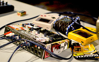 Chiptune music created through 8-bit sound chips