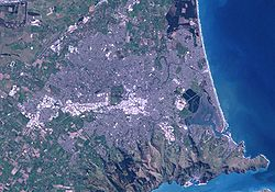 Satellittbilde av Christchurch frå NASA.