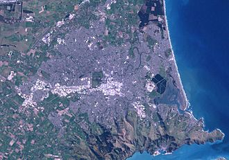 Christchurch - Satellite image showing Christchurch and surrounding areas.