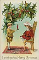 "Christmas postcard showing young boy, standing, showing mounted figurine to girl seated on chair, large holly branches at top, with ""I wish you a Merry Christmas."".jpg"