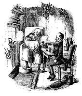black and white drawing of scrooge and bob cratchit having a drink in front of a