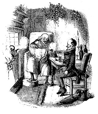 A Christmas Carol - Scrooge and Bob Cratchit celebrate Christmas in an illustration from Stave Five of the original edition, 1843.
