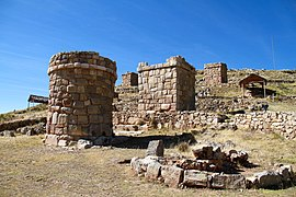 Chullpas pre Incan burial towers Peru, near Lake Titicaca.jpg