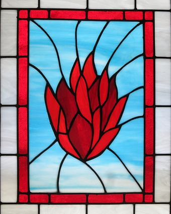 Stained Glass in the Church of the Ascension (Johnstown, Ohio) showing fire, a symbol of Holy Spirit Church of the Ascension (Johnstown, Ohio) - stained glass, The Holy Spirit as fire.jpg