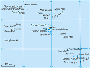 English: Map of Chuuk State, Micronesia. Polsk...