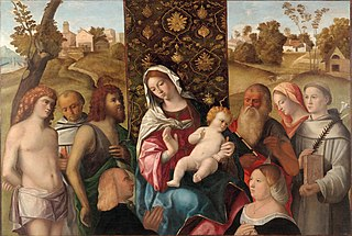 Madonna and Child, with saints Sebastian, Francesco, John the Baptist and Jerome