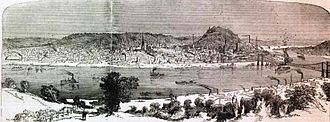 Cincinnati - Cincinnati in 1862, a lithograph in Harper's Weekly.