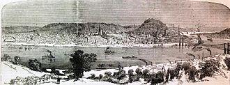 Cincinnati - Cincinnati in 1862, a lithograph in Harper's Weekly.
