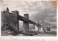 Civil engineering; the Menai box girder bridge. Engraving by Wellcome V0024344.jpg