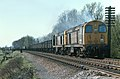 Class 20, 20045 & 20139 on an eastbound train, west of Frisby on the Wreake, Leicestershire, Nigel Tout, 20.4.76.jpg