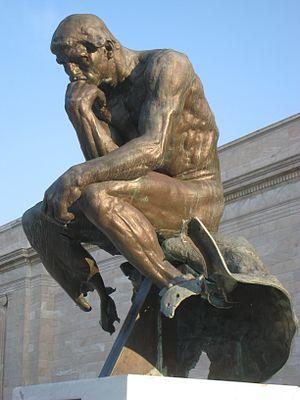 Vandalism of art - Vandalized cast of Rodin's The Thinker, Cleveland Museum of Art, Cleveland, Ohio, US