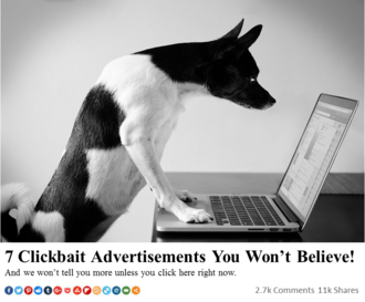 Clickbait - Example of an online ad employing two common clickbait tactics according to Wired, including the use of numbered lists, and utilizing an information-gap to encourage reader curiosity