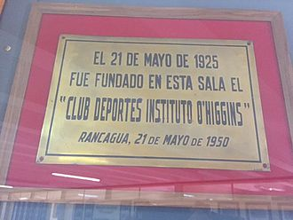 O'Higgins F.C. - Commemorative plaque of the founding of Instituto O'Higgins de Rancagua
