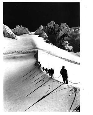 Mazamas - A group of Mazamas climbers scales Mount Hood summer 1963