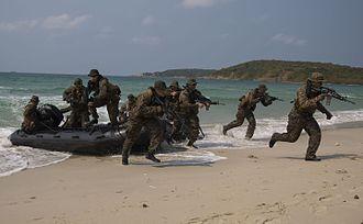 Cobra Gold - U.S. Marines assault the beach as part of an amphibious demonstration at Hat Yao Beach, Thailand, during Cobra Gold 2014