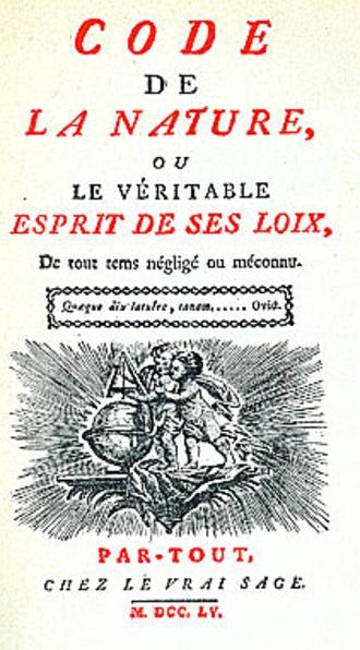 """Étienne-Gabriel Morelly - Frontispiece of """"Code de la Nature, ou le véritable Esprit de ses Loix."""" (1755)"""
