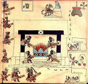 New Fire ceremony - Representation of a new fire ceremony (Codex Borbonicus, p.34).