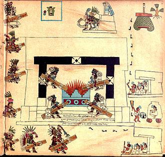 New Fire ceremony - Representation of a new fire ceremony (Codex Borbonicus, p.34).