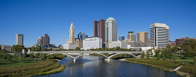 Panorama of downtown Columbus, OH from the Main Street Bridge.