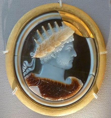 Commodus with attributes of Helios, Apollo and Jupiter, late 2nd century AD, sardonyx cameo relief, Hermitage Museum, St. Petersburg. Commodus, Hermitage Museum.JPG