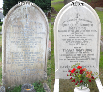 Oliver Heaviside - Comparison of before and after the restoration project.