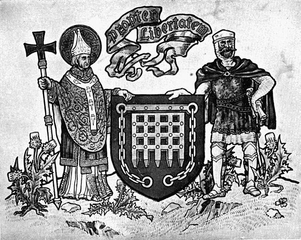 "Fig. 669.—Arms of Arbroath: Gules, a portcullis with chains pendent or. Motto: ""Propter Libertatem."" Supporters: dexter, St. Thomas à Becket in his archiepiscopal robes all proper; sinister, a Baron of Scotland armed cap-à-pie, holding in his exterior hand the letter from the Convention of the Scottish Estates, held at Arbroath in the year of 1320, addressed to Pope John XXII., all proper."