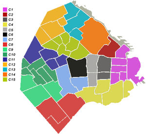 Communes of Buenos Aires - Coloured Comunas with neighbourhood divisions.