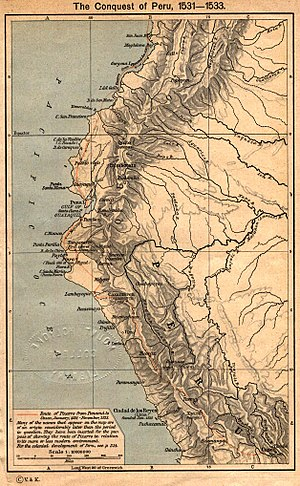 Spanish colonization of the Americas - Map depicting the route of Pizarro from Panama to Cuzco