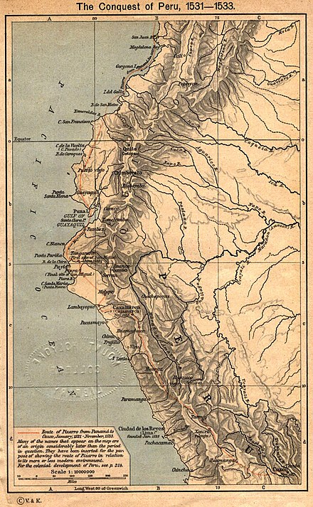Francisco Pizarro's route of exploration during the conquest of Peru (1531-1533) Conquest peru 1531.jpg