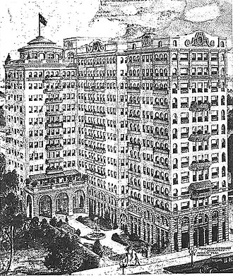 Cooper Arms Apartments - Drawing of the Cooper Arms from 1922 promotional brochure