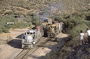 Kearny, Arizona - Copper Basin Railway trains at Ray Junction in Kearny, around 1987