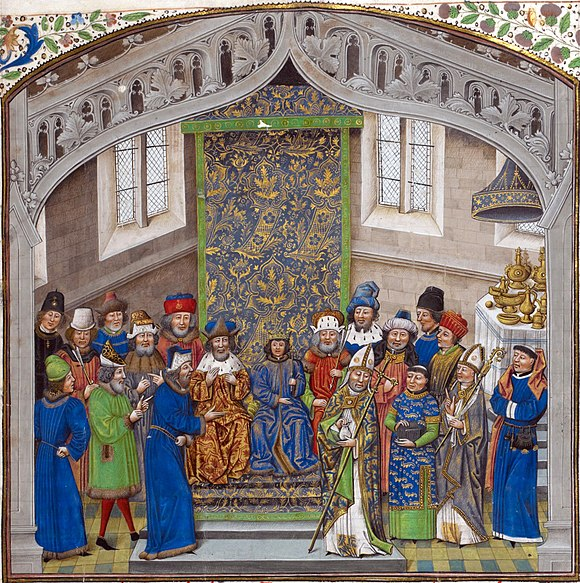 Coronation of Richard II aged ten in 1377, from the Recueil des croniques of Jean de Wavrin. British Library, London.