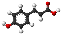 Ball-and-stick model of coumaric acid