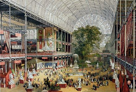 The Crystal Palace held the Great Exhibition of 1851 Crystal Palace interior.jpg