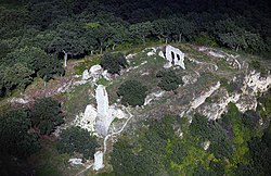 Aerial view of the ruins of Csővár castle near Csővár