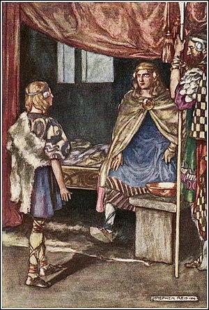 """Cú Chulainn - """"Cuchulain Desires Arms of the King"""", illustration by Stephen Reid in Eleanor Hull's The Boys' Cuchulain, 1904"""